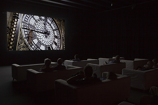 Exhibition view of Christian Marclay's The Clock, 2014