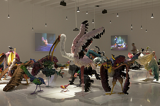 The Parade: Nathalie Djurberg with Music by Hans Berg featured animated films and more than 80 sculptures of fantastical birds