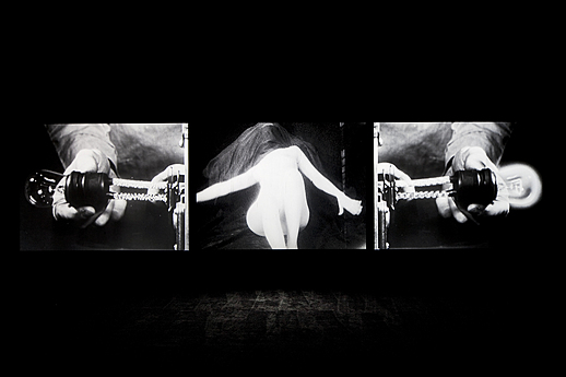 Bruce Conner's THREE SCREEN RAY (1961/2006) in the exhibition The Renegades: American Avant-Garde Film, 1960-1973