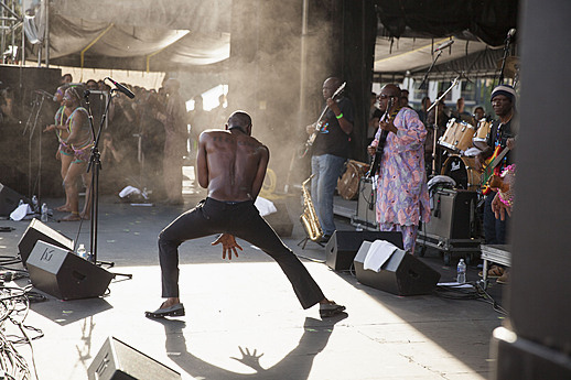 Seun Kuti performs during Rock the Garden 2015